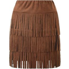 Michelle Keegan Fringe Suedette Mini Skirt ($62) ❤ liked on Polyvore featuring skirts, mini skirts, layered skirt, fringe mini skirt, brown mini skirt, lipsy and short skirts