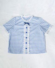 54225d211c838 Azure · Blue Gingham ShirtsKawaii Fashion