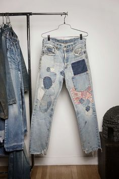 """""""What is so amazing about these is the way the crafter mixed different denim patches from different eras with just one patterned fabric."""""""