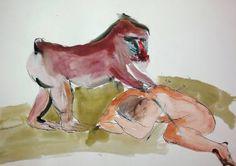 """Saatchi Art Artist Fernando Guibert; Drawing, """"Mandrill and man"""" #art"""