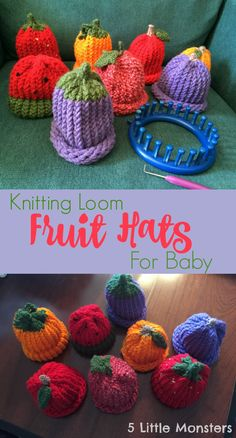 A variety of fruit hats made on a knitting loom. Pumpkin, apple, watermelon, berries and more.