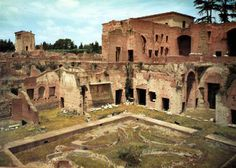 The Domus Augustana on the Palatine Hill was a magnificent palace used as the residence of Rome's emperors. Built by the Emperor Domitian, the incredible remains of the Domus Augustana include a remarkable courtyard with the remnants of a fountain and many of its walls (see matching artist's reconstruction for an idea of what it looked like in its heyday).