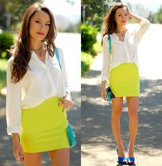 neon and white, blue shoes