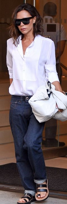 Victoria Beckham in Sunglasses and shirt – Victoria Beckham Collection  Shoes – Celine