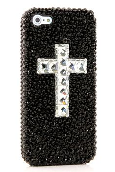 Bling Black Cross design iPhone 5 5s 5c cases glitter phone accessories for boys