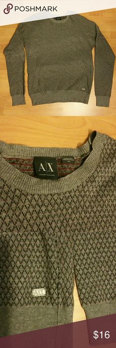 *3 for 35* Armani Exchange sweater New. Size medium. 50% cotton, 25% wool, 25% nylon. Color gray and maroon   BUNDLE DEAL: combine any 3 button ups for $35 or 2 button ups for $25 ($16 button ups/sweaters only). Just send me a bundle offer. Thanks! Armani Exchange Sweaters