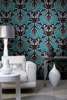 For my boudoir  Green and Silver Sparkles on Black Damask   Contemporary wallpaper