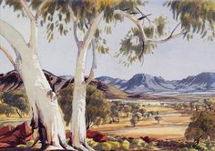 Indigenous Australian artist Albert Namatjira is arguably Australia's best known Aboriginal painter. He is known for watercolours of desert landscapes rather than the symbolic style of traditional Aboriginal art. His paintings also depict Ghos Aboriginal History, Aboriginal Artists, Watercolor Landscape, Landscape Paintings, Watercolor Art, Australian Painters, Australian Artists, Kunst Der Aborigines, Indigenous Art