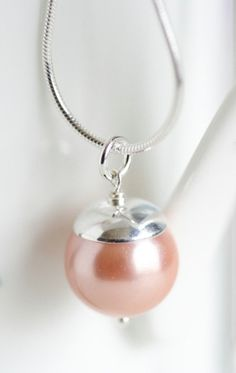 Peachy Pink Pearl Necklace Sterling Silver