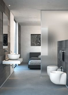 ♂ Contemporary minimalist bathroom & bedroom design grey Colección Strada de Ideal Standard