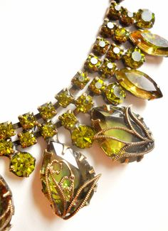 Art Nouveau Necklace Vintage Green Rhinestone by RenaissanceFair