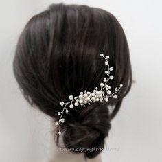 Accesorios Wedding del pelo blanco perla, Swarovski Perla plata novia vid peinetas, novia dama de honor de pelo pieza de joyería accesorios H20 por adriajewelry