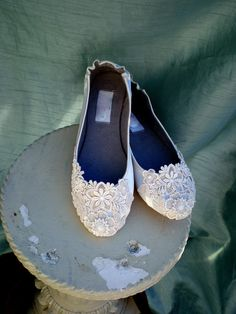 Ivory Lace Wedding Flats - via Etsy - Check out navarragardens.com for info on a beautiful Oregon wedding destination!