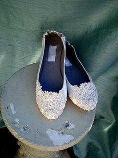 Ivory Lace Wedding Flats - via Etsy - Check out navarragardens.com for info on a beautiful Oregon wedding destination!