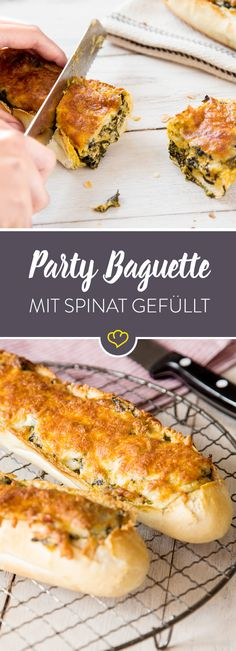 Außen gut, innen besser: Gefülltes Party-Baguette mit Spinat und Käse This stuffed party baguette convinces everyone with a delicious spinach and cheese filling, which ensures every bite for the best mood! Party Finger Foods, Snacks Für Party, Sandwiches, Spinach And Cheese, Brunch Party, Soul Food, Food Inspiration, Food Porn, Food And Drink