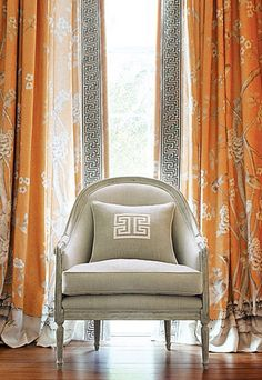 We carry Mary McDonald's entire collection made exclusively for Schumacher.  Gorgeous Chinoiserie inspired window treatments paired with a large embroidered tape banding. Be bold this spring!