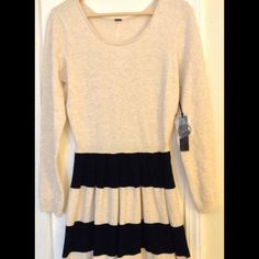"{ poof } sweater dress black striped XL cotton NWT, measures approx as follows : bust 32"", overall 35"", sleeve 24"". Fabric is 60 cotton, 35 rayon, 5 spandex. Poof! Dresses Long Sleeve"