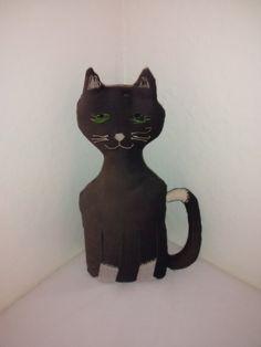 Antique Black Cat , Folk Art , Art Deco , 1930's , Door Stopper , Primitive Cat