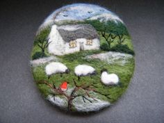 Handmade needle felted brooch/Gift 'A Winter's Morning' by Tracey Dunn | eBay