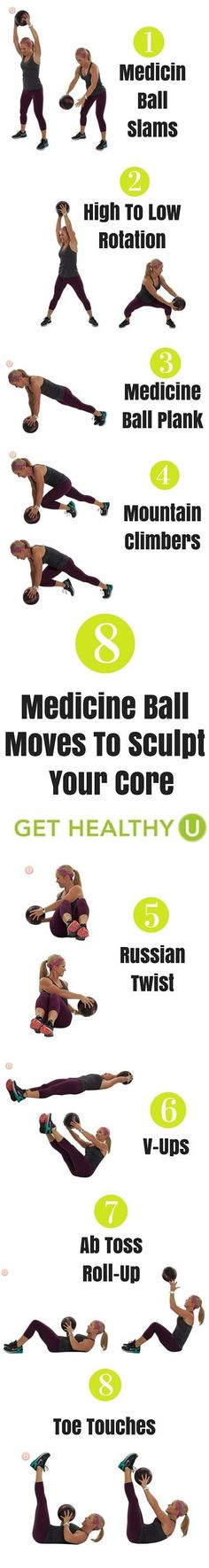 Get ready to slam, twist, plank, toss and rotate all to help strengthen and define that beautiful six-pack! This medicine ball workout is great on its own or tagged on to another cardio routine. Try these 8 moves to sculpt your core! diet workout back fat Fit Girl Motivation, Fitness Motivation, Hiit, Bola Medicinal, Fitness Tips, Health Fitness, Workout Fitness, Video Fitness, Post Workout