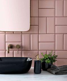 Home Interior Scandinavian .Home Interior Scandinavian Pink Tiles, White Tiles, Black Tiles, Modern Bathroom, Small Bathroom, Metro Tiles Bathroom, Bathrooms, Bathroom Tile Colors, Colourful Bathroom Tiles