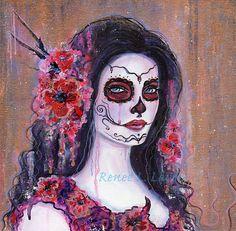 ORIGINAL Poppie  Day of the Dead 12 x 12 by TheArtOfReneeLLavoie