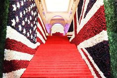 The staircase at the May 6 gala in New York was flanked by oversize American and British flags made entirely of 150,000 red, white, and blue... Photo: Courtesy of the Metropolitan Museum of Art/BFAnyc.com