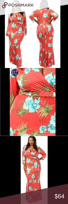 Coral Tropics Maxi Dress Coral color maxi length dress features aqua and avocado color floral and palm frond print. Sash tie at waist. Three-quarter length sleeves. Faux wrap. 95% polyester, 5% spandex. Made in U.S.A.. Brand new retail w/o tags. No trades, no holding, no off App transactions.  Ships in 7 days.     PRICE IS FIRM UNLESS BUNDLED                  5% off bundles  Dresses Maxi
