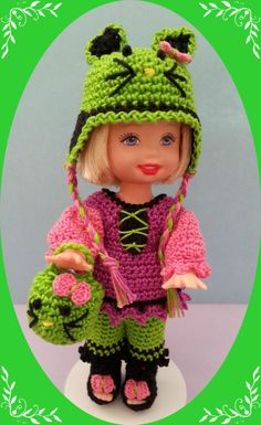 "Crochet Clothes Lime Kitty Outfit for 4 ½"" Kelly & same sized dolls"