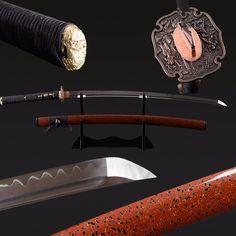 Buy Atid Clay Tempered Folded Steel Katana Samurai Sword Online – BladesPro US Cosplay Sword, Samurai Swords Katana, Sword Design, Musashi, Japanese Sword, High Carbon Steel, Knives And Swords, Damascus Steel, Clay