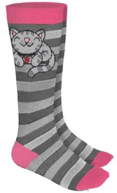 (1x1) The Big Bang Theory Kitty Socks, Grey/Pink,One Size