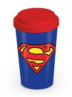 Reisbeker met het logo van jouw favoriete superheld: Superman! Zo kun je ook onderweg in stijl jouw eigen vertrouwde koffie of thee drinken.