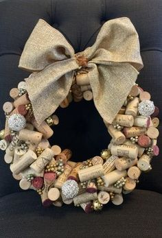 This Wine cork wreath is just one of the custom, handmade pieces you& find in our wreaths shops. Wine Cork Wreath, Wine Cork Ornaments, Wine Cork Art, Wine Craft, Wine Cork Crafts, Wine Bottle Crafts, Wooden Crafts, Wine Bottles, Cork Christmas Trees