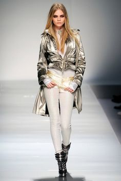 Cara Delevingne silver jacket   Blumarine