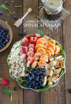 Almond Berry and Chicken Spinach Salad with a delicious and easy dressing!  I feel like I could eat this beautiful salad every day!! <3