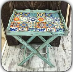 Pin by Aynur Kurtbay on sehpa-tabure-tepsi-sepet Tile Crafts, Wood Crafts, Diy And Crafts, Royal Furniture, Painted Furniture, Furniture Makeover, Diy Furniture, Wooden Hammock Stand, Wooden Painting