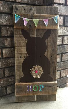 Bunny Hop Wood Sign