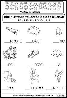Sequência silábica lacunada letra S Portuguese Lessons, School Projects, Professor, Homeschool, Activities, Portal, Victoria, Letter T Activities, Language Activities