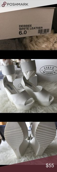 Steve Madden Debbee white leather platform BRAND NEW Steve Madden  Debbee white leather  *real leather  Super comfortable!  Got it as a gift to dance and dance on my wedding but never got the chance to wear them ! :( Steve Madden Shoes Platforms