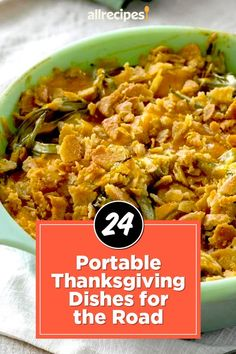 "24 Portable Thanksgiving Dishes for the Road | ""Ditch the delicate dishes and opt for heartier casseroles, stuffings, dips, and pies. From appetizers to dessert, we've rounded up the best portable Thanksgiving dishes for every stage of the meal."" #thanksgiving #thankgivingrecipes #makeahead Sugar Coated Pecans, Thanksgiving Potluck, Garlic Green Beans, Pecan Pie Bars, Corn Fritters, Recipe Creator, Spinach Artichoke Dip, Green Bean Recipes, Green Bean Casserole"