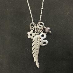 "Loved 4ever Wing & Initial Necklace, 18"" http://www.luxe-design.com"