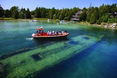 Big Tub Harbour in Tobermory, Ontario. Get up close and personal with a shipwreck by renting a kayak at G+S. Abandoned Ships, Abandoned Buildings, Tobermory Ontario, Big Tub, Lake Huron, Oceans Of The World, Shipwreck, Vacation Places, Great Lakes