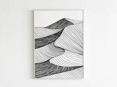Desert Abstract Landscape/Sand Dunes Line Art Print/Minimalist Black and White Printable Poster/Nature Wall Art/Sahara Desert Art Print Abstract Line Art, Abstract Drawings, Art Drawings Sketches, Abstract Landscape, Painting Inspiration, Art Inspo, Arte Sketchbook, Desert Art, Zentangle Drawings