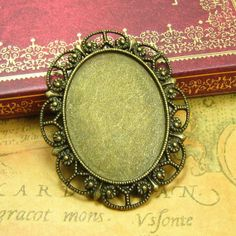 Antique bronze Copper Cameo Cabochon settings with plaster cast for painting DIY