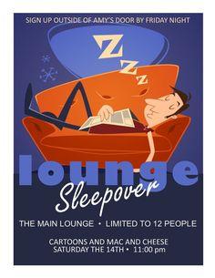 Lounge Sleepover Program flyer for Resident Assistant RA floor social ideas residence hall programming