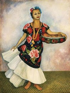 Diego Rivera Portrait of Dolores Olmedo (Tehuana), 1955 Oil on canvas. Collection of the Museo Dolores Olmedo, Xochimilco, Mexico Diego Rivera Art, Diego Rivera Frida Kahlo, Mexican Artists, Mexican Folk Art, Latino Artists, Hispanic Art, Frida And Diego, Arte Popular, Museum Of Modern Art