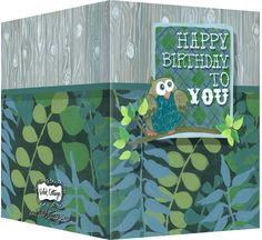 Happy Birthday card with ferns, a wood background and an owl. Blank inside. Available wholesale or retail:  http://www.violetcottage.com/birthday/25-happy-birthday-card-blank-inside-green-ferns-wood-with-owl.html