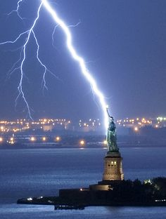 Lightning lights up lady liberty