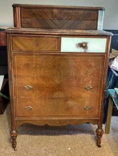 This 1920's dresser was crying out for a new suit of clothing.Just look how sad he looked when I rescued him. Missing veneer and hardware but I had plans for th…