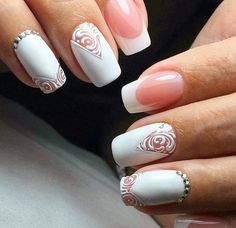 The advantage of the gel is that it allows you to enjoy your French manicure for a long time. There are four different ways to make a French manicure on gel nails. Bright Red Nails, Pink Nails, Glitter Nails, Acrylic Nails Natural, Almond Acrylic Nails, Bridal Nails, Wedding Nails, Acrylic Nail Designs, Nail Art Designs